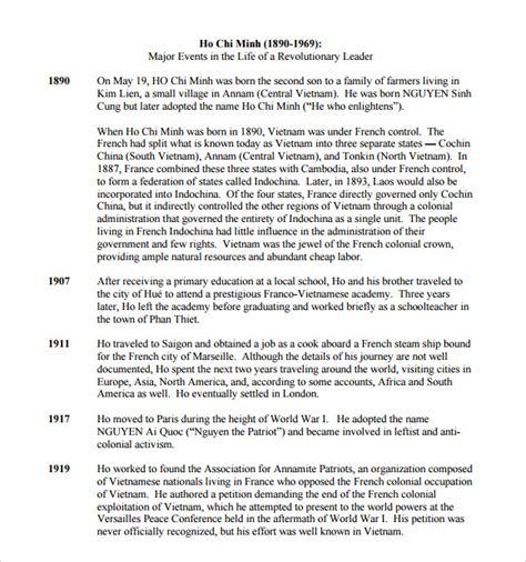 biography timeline templates samples examples