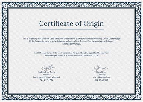 certificate of origin template printable certificate template 35 adobe illustrator documents free premium