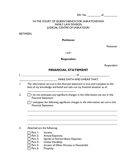 legal statement template   word  document