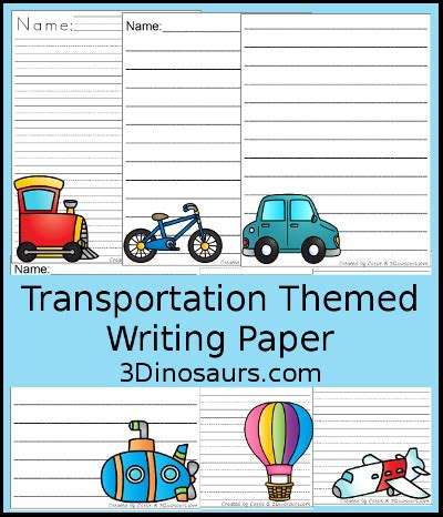 dinosaurs transportation themed writing paper