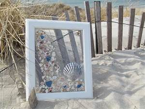 8X10 Vertical beach frame with blue sea glass and a