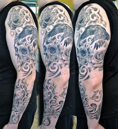Tattoo Sleeve Skull Progress By Gettattoo On Deviantart