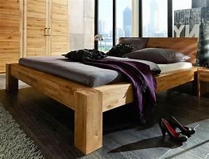 Bett 160x200 Holz : balkenbett 160x200 mit glattem kopfteil wildeiche massiv ge lt parkettverleimt ~ Indierocktalk.com Haus und Dekorationen