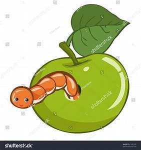 Vector Illustration, Cute Apple Worm, Cartoon Concept ...