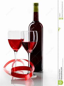 Bottle With Red Wine And Glass Royalty Free Stock ...