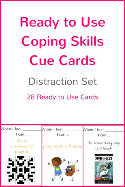 ready   coping skills cue cards distraction set