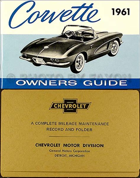 corvette owners manual  envelope  owner guide