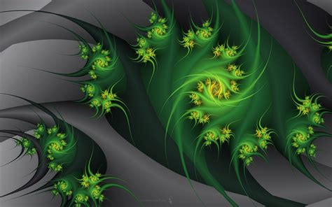 green abstract flowers gray fractals embrace nature