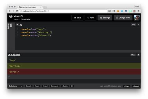 console js new feature a javascript console codepen