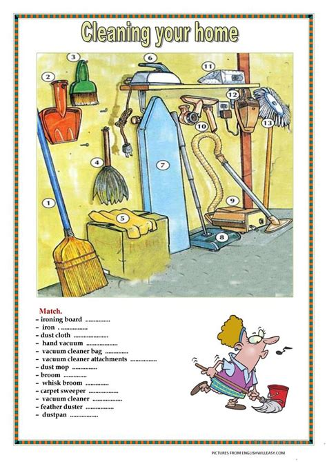 cleaning  home  key pages worksheet