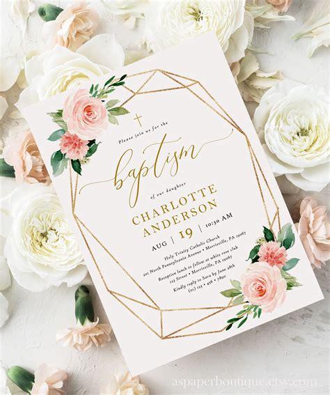 Blush Floral Baptism Invitation Girl Baptism Christening