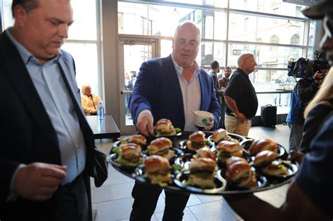 wahlburgers restaurant cincinnati wahlberg mark wahlburger newest downtown monday opening guests celebrate nkytribune invited fare sample
