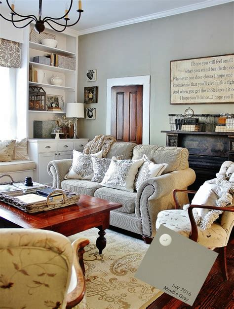 farmhouse living room family room mindful gray Colorful