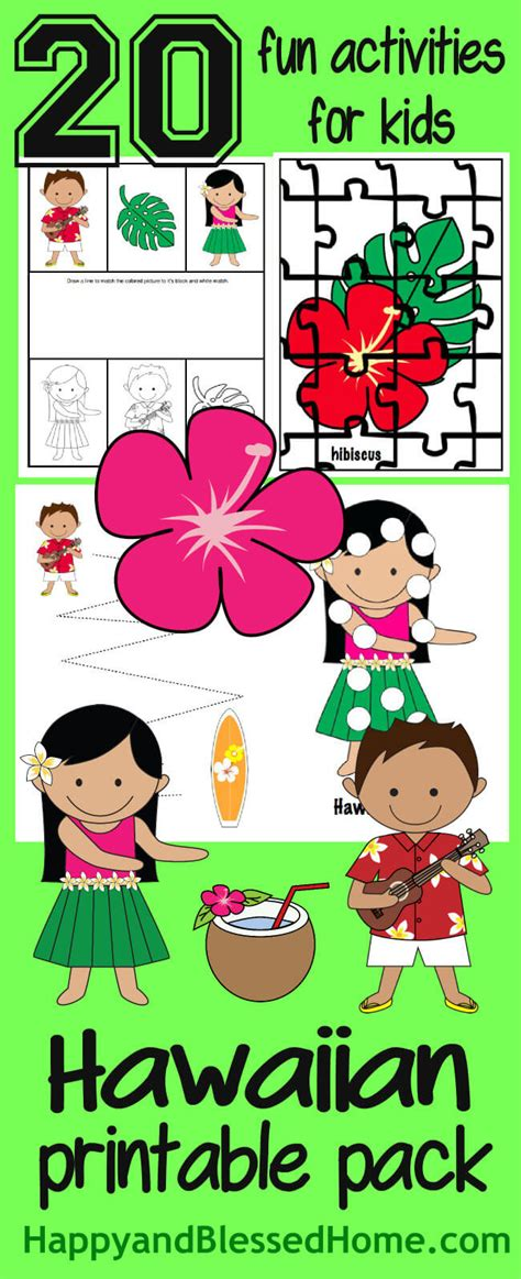 your hawaiian luau pack here happy and 191 | FREE Hawaiian Printable Pack with 20 fun activities for kids from HappyandBlessedHome.com