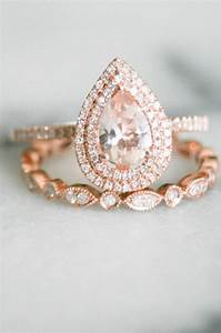 pear shape double halo rose gold morganite wedding set With pear shaped wedding ring set