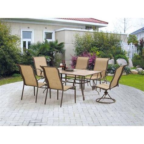 mainstays york 7 piece patio garden furniture dining set