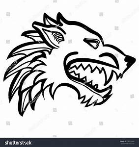 Vector Illustration Dire Wolf Head Black Stock Vector ...