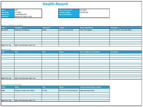 excel health record tracking log template  excelmadeeasy