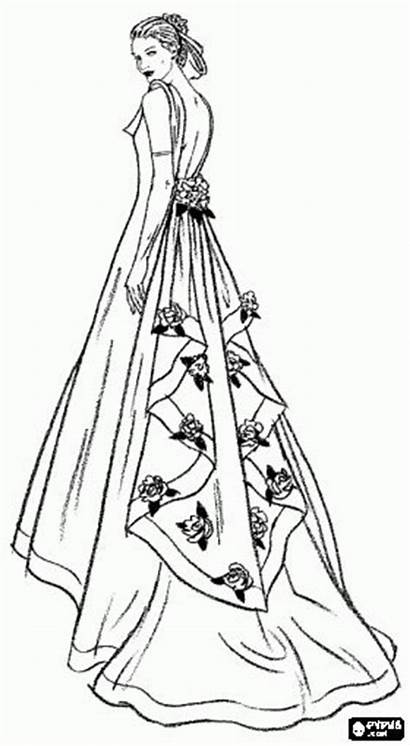 Pages Dresses Quinceanera Coloring Drawings Ball Gowns