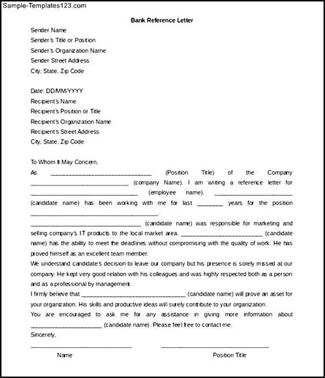 bank reference letter template word doc sle