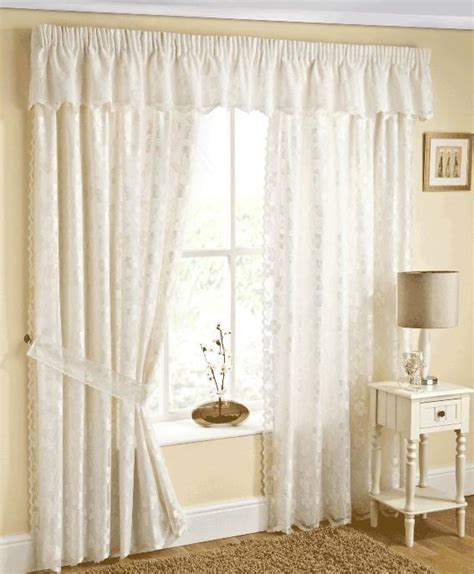 felicity lace lined curtains with tie backs