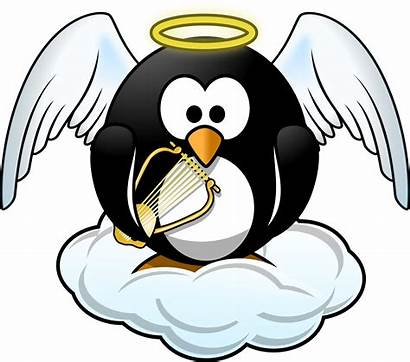 Penguin Heaven Clipart Angel Svg