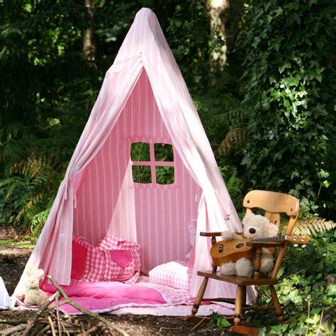 tente tipi indien cabane pour enfants raye rose  blanc wingreen