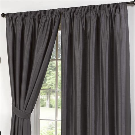 faux silk grey plain curtains pencil pleat curtains