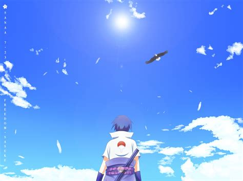 naruto shippuuden anime uchiha sasuke clouds eagle