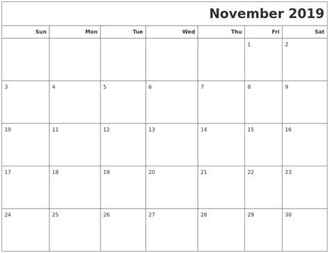 blank november  calendar   printable images