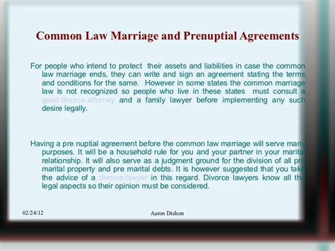 common marriage common law marriage and prenuptial agreements 29