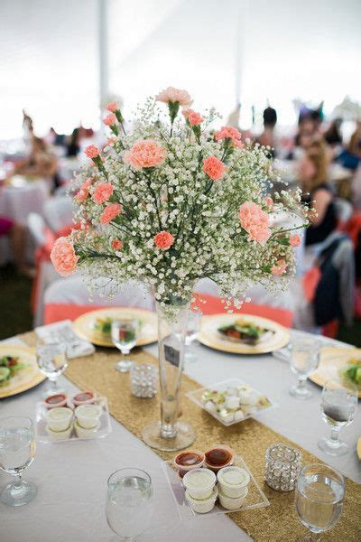 Coral + white wedding centerpiece idea coral carnations