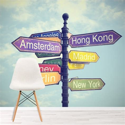 world city signs wall mural travel wallpaper bedroom