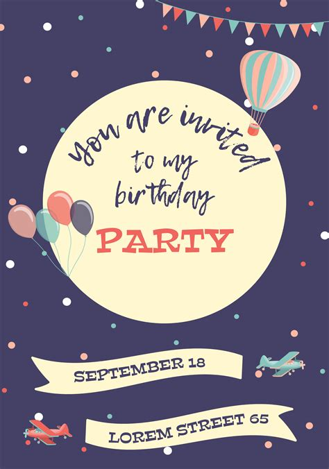 Birthday invitation card Download Free Vectors Clipart