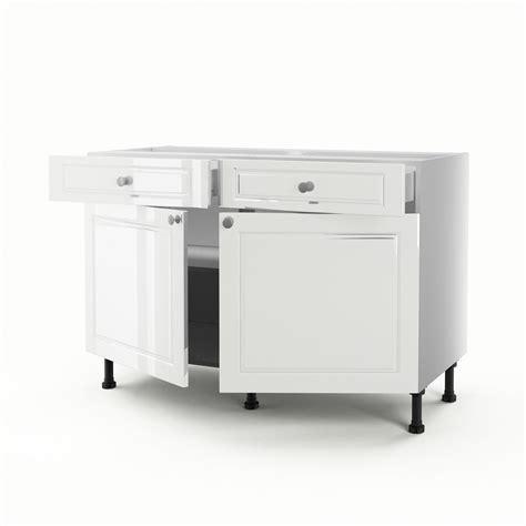 but meuble cuisine bas meuble de cuisine bas blanc 2 portes 2 tiroirs chelsea h