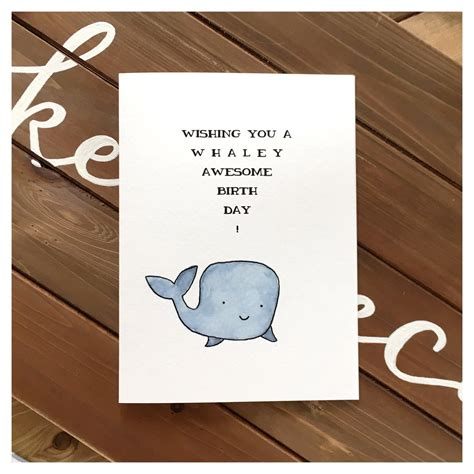 These birthday puns really do take the cake! Whale Birthday Card // cute card, whale card, pun card, cute birthday card, funny birthday card ...