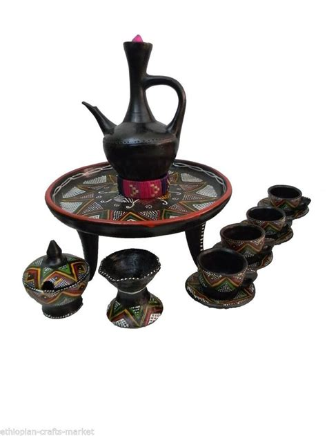 Set of Ethiopian Clay Coffee Pot,Cups, Sugar Bowl,Frankincense Burner