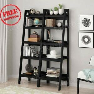 Metal Leaning Bookcase by Black Metal Ladder Bookcase Leaning Set Of 2 Shelves