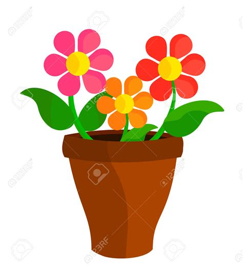 Flower Pot Clipart Flowerpots Clipart Bright Flower Pencil And In Color