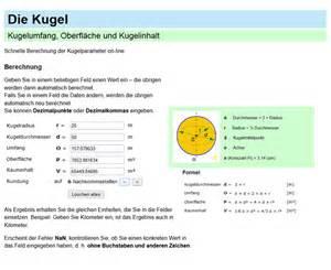 oberfläche kugel formel kugel umfang fläche und inhalt formel und berechnung on line