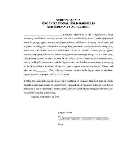 Hold Harmless Waiver Template by Hold Harmless Agreement Template 13 Free Word Pdf
