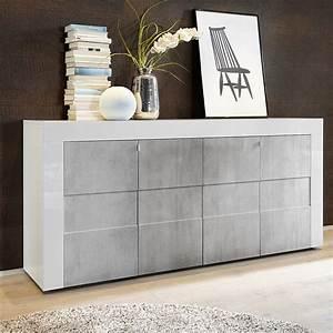 Buffet Effet Beton : buffet bas blanc laqu brillant et effet b ton sofamobili ~ Teatrodelosmanantiales.com Idées de Décoration