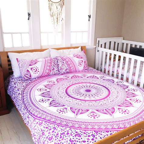 white pink purple leafs boho bedding mandala duvet set with 2 pillow cases royalfurnish com