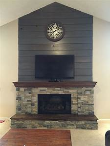 fireplace diy makeover barnwood shiplap cleaned up and