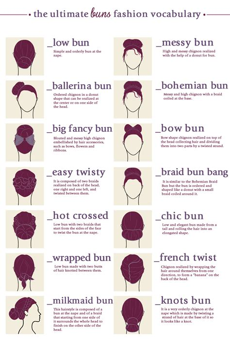 Terms For Hair by Hair Buns Types Styles Terms Names Infographics Digital