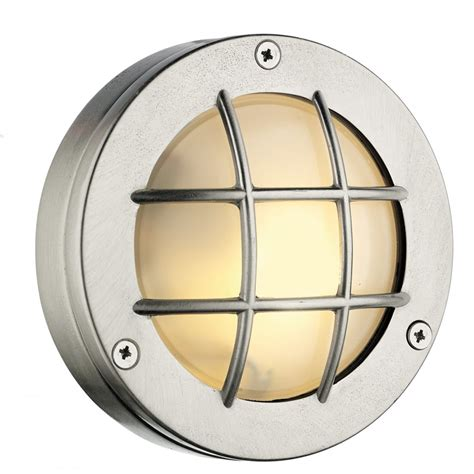 nickel finish outdoor round bulkhead light with frosted glass