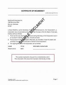 Certificate of incumbency usa legal templates agreements contracts and forms for Incumbency certificate form