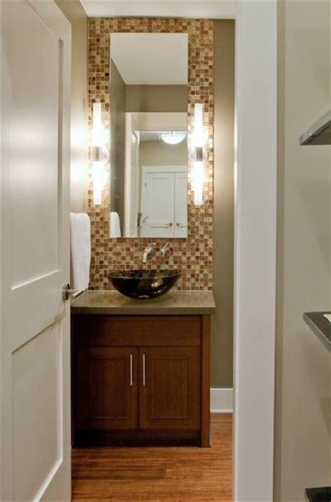 Orange Tile Backsplash  Powder Room  Home Projects
