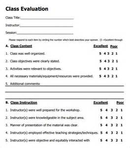 Class Evaluation Form Template