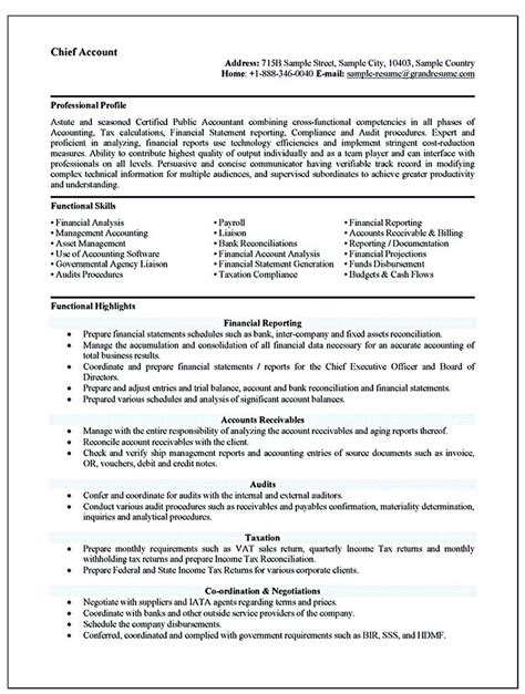 Resume Format For An Accountant by Accounting Resume Ought To Be In Any Way If You
